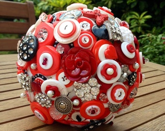 Wedding Button Bouquet in red, black and white - medium size - wedding flowers, retro/vintage design, rockabilly, UK seller
