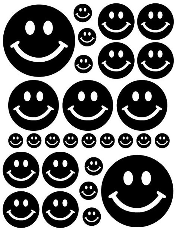 56 Black Smiley Face Vinyl Polka Dots Bedroom Wall Decals Stickers Teen Kids Baby Nursery Dorm Room Removable Custom Made Easy to Install