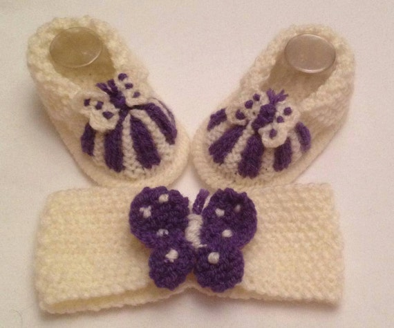 Baby Knitting Butterfly Cuff boots and hairband
