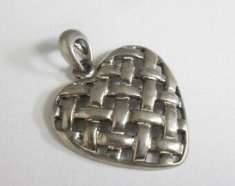 Vintage Sterling Silver Basket Weave Heart Pendant