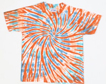 Handmade Spiral Tie Dye, Youth 6-8 T Shirt, Blues, Rusts, OOAK, 100% Cotton, Beefy Weight, Short Sleeves.