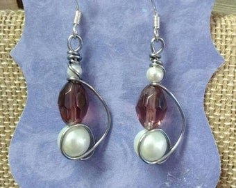 Lavender and pearl earrings