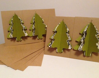 """Rustic Sewn Christmas Tree Note Cards - Set of 4 - 4.25"""" x 4"""", hand sewn greeting card, rustic christmas card, blank card, vintage christmas"""