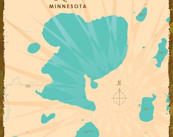 Pine Lake, MN Map - Canvas Print