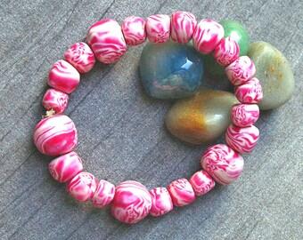 Bead bracelet - Handmade Poymer Clay Bead Bracelet - Pink Bead Bracelet - Boho Jewellery - Pink Fluffy Clouds !