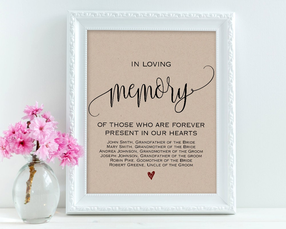 In loving memory wedding signs personalized sign memory for In loving memory wedding sign
