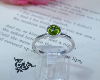 Bright Green Peridot Sterling Silver Ring