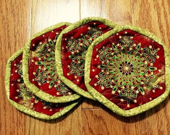 Quilted holiday coasters set of 4 with large snowflake in red and gold, Christmas coaster set