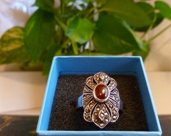 Carnelian and Marcasite ring in .925 Sterling Silver