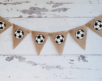 Soccer Burlap Banner, Soccer Banner, Soccer Decor, Soccer Party Sign, Soccer Party, B208