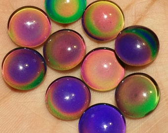 Color changing glass 12mm mood  cabochons - 8pcs- slighty round bottom- (F9:9-567)