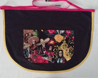 Dia De Los Muertos celebration 1/2 size adult pocket apron with handsewn finished end ties