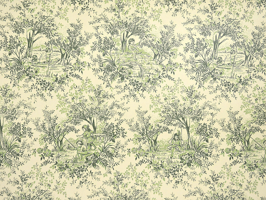vintage toile wallpaper rolls green and ivory wallpaper with