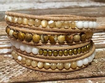 Chan Luu Style Wrap Bracelet / Healing Crystal Bracelet / Jasper Bracelet / Beaded Wrap Bracelet