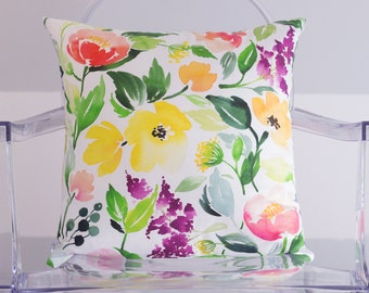 Colorful Floral Cluster Watercolor Throw Pillow