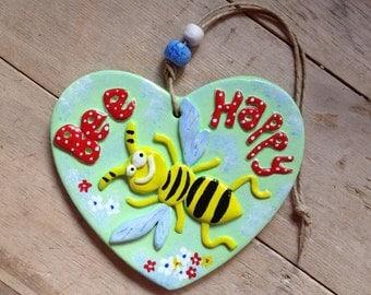 Bee happy novelty sign