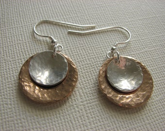 Sterling Silver and Bronze Hammered and Domed Disc Earrings