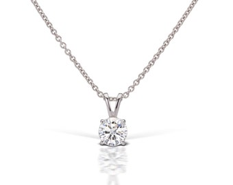 Diamond Solitaire Pendant In 14kt White Gold F-G SI2 (1/3 ctw.), Solitaire Pendant, Solitaire Diamond, Diamond Necklace, Necklace