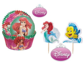 Little Mermaid Baking Cups with Little Mermaid and Flounder Picks