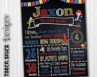Pirate Chalkboard Birthday Poster - 1st Birthday, Chalkboard sign, Birthday Sign, Digital File- Custom