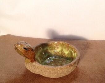 Turtle,animal,folk art,ceramic,handmade,collectible,bowl,primitive,original,one of a kind