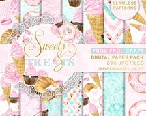 Bakery Digital Paper Pack, Watercolor Desserts, Seamless Patterns, Icecream, Cupcake, Croissant, Muffin, Macarons, Cake, Pink, Mint, Summer