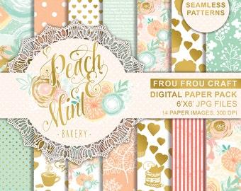 Bakery Digital Scrapbook Page Kit, Boho Flower Paper Pack, Bridal Album Digital Paper, Coral Mint Cupcake Digital Pack, Printable Paper Pack