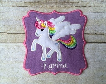 ON SALE! Unicorn Appliqué Patch, Free Personalization Included!