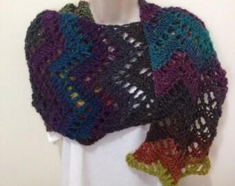 Chevron Crochet Long Scarf, Long Woollen Scarf, Chunky Crochet Scarf, Oversized Scarf, Woollen Wrap - READY TO SHIP!