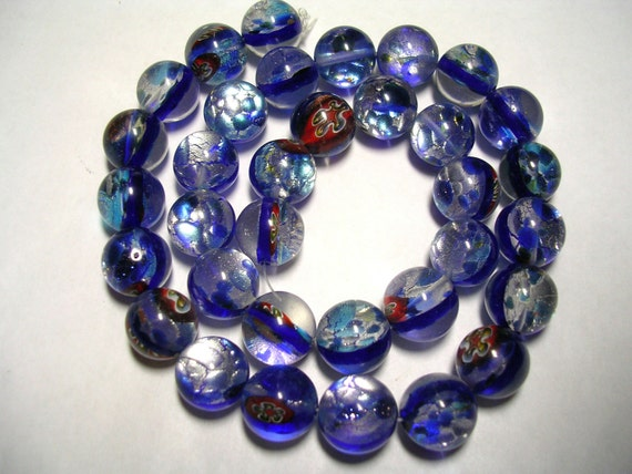 12mm multi color glass beads foiled round millefiori for Sapphire studios jewelry reviews