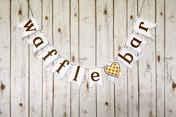 waffle bar sign with crumbs    banner    brunch    diy breakfast