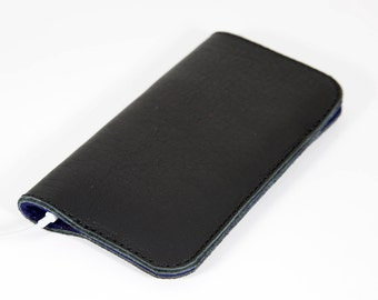 iPhone Leather Sleeve, iPhone Cover, iPhone Case, iPhone Holder, Black Leather Phone Sleeve