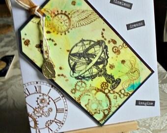 Armillary sphere card. Armillary sphere tag card. Vintage theme card. Vintage inspired card. Steampunk card. Steampunk theme card.