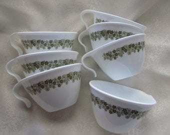 Corelle Spring Blossom/ crazy daisy/ retro green/ hook cups/ set of 7