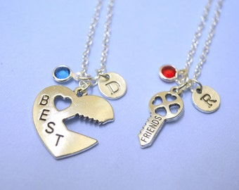 best friends necklace set of 2  , Best friend necklace, Key Heart Necklace, Friendship Necklaces,Couples Gift