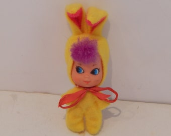 Vintage Liddle Kiddle Holiday Kiddles Funny Bunny Yellow 3532 Mattel 1968 - 1969