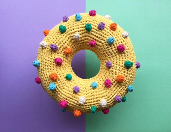 Nipply nip donut crochet cushion by Flamingpot on Etsy