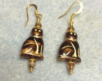 Brown gold Czech glass cat bead dangle earrings adorned with brown gold Czech glass beads.