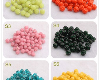 5 pieces of Pumpkin beads 6mm Glass Beads Handmade Bead Charm Bracelet DIY bracelets Bead Supply Small Beads
