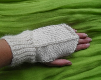 Women hand knitted white wool and bamboo fingerless gloves/ arm warmers