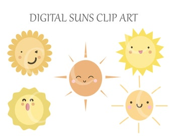 5 Digital Sun Summer Day Clipart Printable Instant Download PNG Scrapbooking Sticker Invitation Cards Commercial use