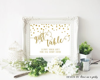 GOLD BABY SHOWER Gift Table Sign , Gold Baby Shower Decorations , Gold Baby Shower Gifts Sign , Confetti , Printable , Instant Download