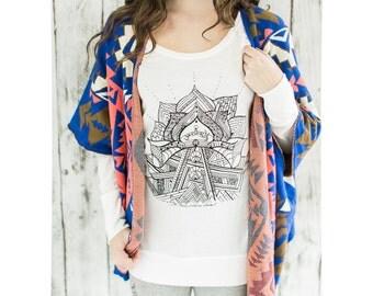 yoga shirt- yoga top- lotus yoga tee- yoga long sleeved shirt- yoga t shirt- yoga