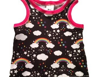 Rainbow Tank/Crop Top/Raglan- Baby Toddler Child custom- Handmade to order