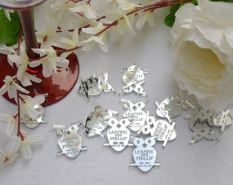 OWLS Silver Mirror Acrylic PERSONALISED wedding Table Confetti, Scatter Favours