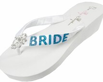 Turquoise Blue Bridal Flip Flops for the Wedding- Wedges with Bride in Glitter in White or Ivory