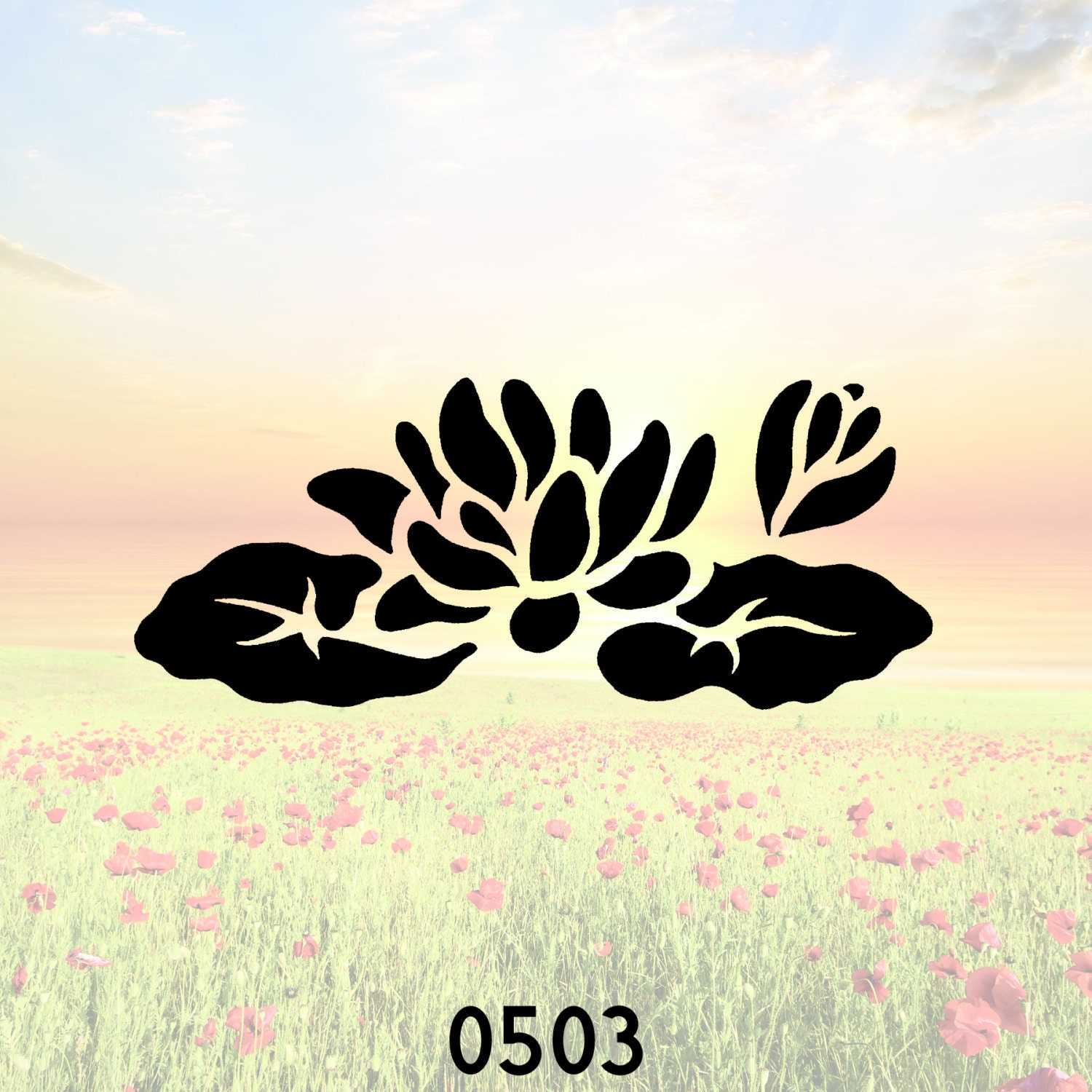 Water Lily Stencil Black And White: Flower Water Lily Stencil Or Wall Decal DIY Project