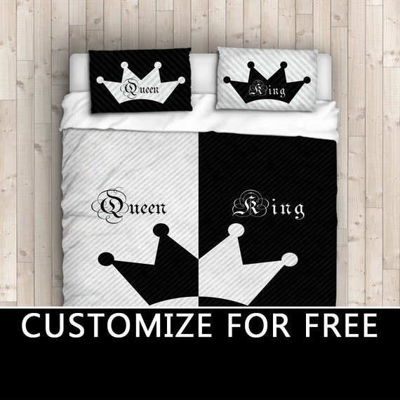 King Queen His Hers Duvet Cover His Side Her Side Bedding