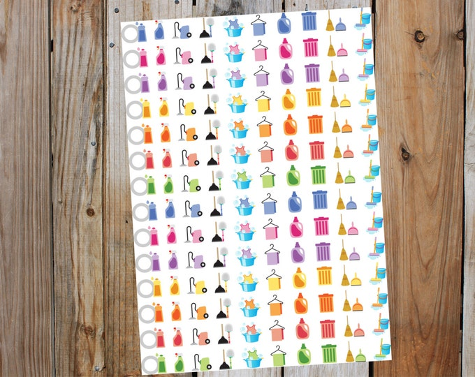 Planner Sticker Icons, Household Cleaning Icons for Erin Condren, Filofax, Kiki K, Limelife, Happy Planner all Planners