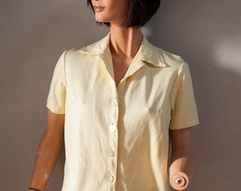 Vintage 60s Buttoned Short Sleeve Shirt/Blouse Vollmoeller